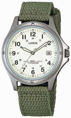 Lorus Mens analoge groen canvas riem horloge RXD425L8