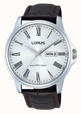 Lorus Mens roestvrij staal bruin lederen riem horloge RXN11DX9