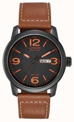 Citizen Eco-drive voor heren | chandler militair bruin leer BM8475-26E