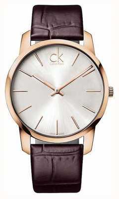 Calvin Klein Gents zilveren wijzerplaat rose gouden kast K2G21629