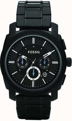 Fossil Mens zwarte chronograaf armband horloge FS4552