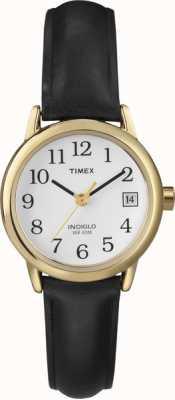 Timex Dames wit zwart lederen band horloge T2H341