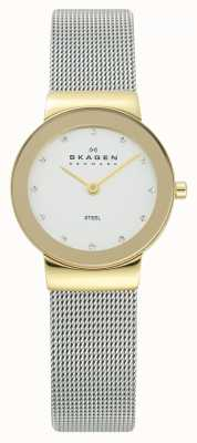 Skagen Dames goudkleurig geval zilver gaas armband horloge 358SGSCD