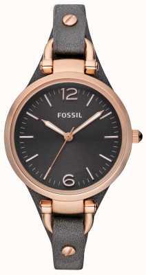 Fossil Dames lederen band analoge horloge ES3077