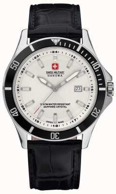 Swiss Military Hanowa Mens vlaggenschip witte wijzerplaat zwarte omlijsting & lederen band 6-4161.2.04.001.07