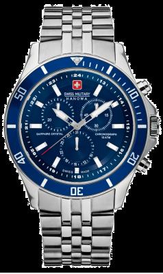Swiss Military Hanowa Mens vlaggenschip blauwe wijzerplaat roestvrij staal chronograaf 6-5183.7.04.003