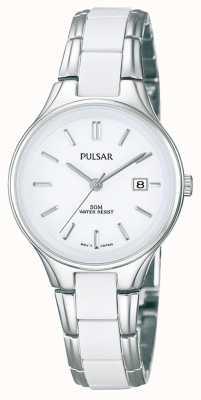 Pulsar Wit keramiek en roestvrij staal dames, witte wijzerplaat horloge PH7267X1
