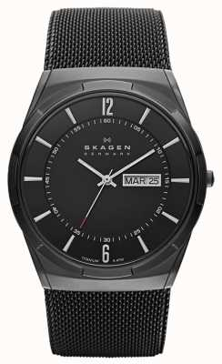 Skagen Mens Aktiv zwart-ion-plated titanium horloge zwarte wijzerplaat SKW6006