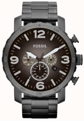 Fossil Mens nate rook roestvrij staal chronograaf JR1437