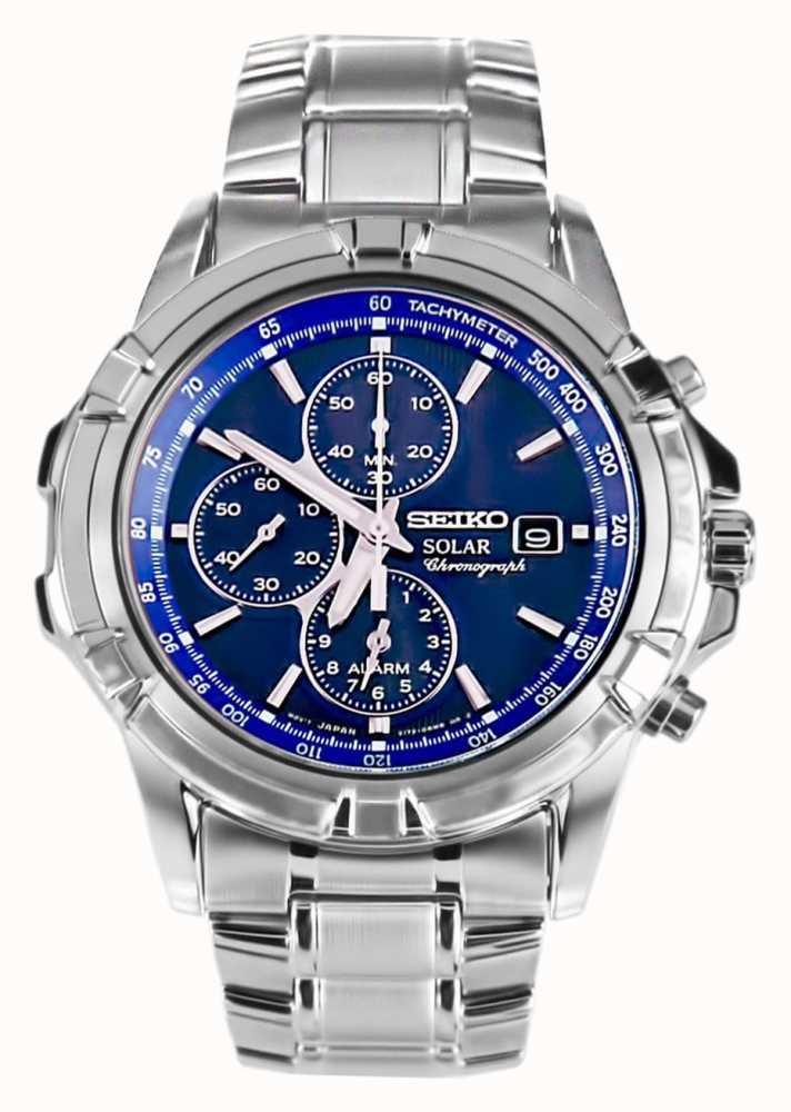 Seiko Heren RVS blauwe wijzerplaat zonne energie chronograaf SSC141P1