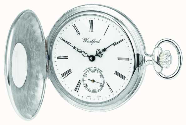 Woodford Sterling zilver, open geval, witte wijzerplaat, mechanisch zakhorloge 1068