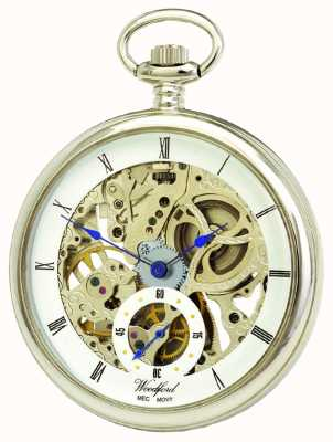Woodford Chroom, wit skelet wijzerplaat, mechanisch zakhorloge 1043