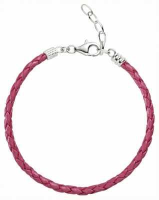 Chamilia One size roze metallic gevlochten leren armband 1030-0112
