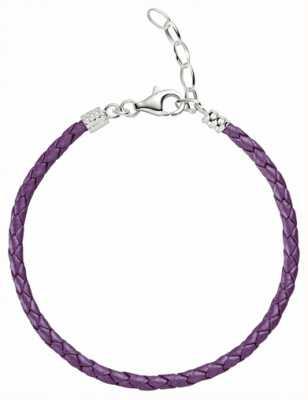 Chamilia Een maat paars metallic gevlochten leren armband 1030-0113