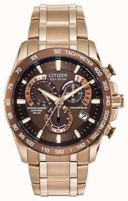 Citizen Mens eeuwigdurende chronograaf op gouden plaat roestvrij staal AT4106-52X
