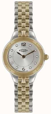 Rotary Ladies 'two tone horloge met stenen set LB02762/59