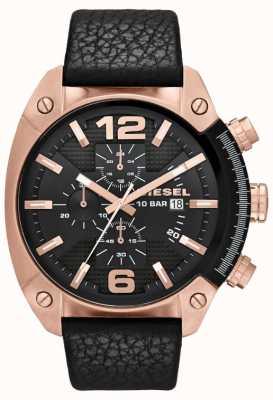 Diesel Mens overflow rose-goud zwarte wijzerplaat zwarte lederen band horloge DZ4297