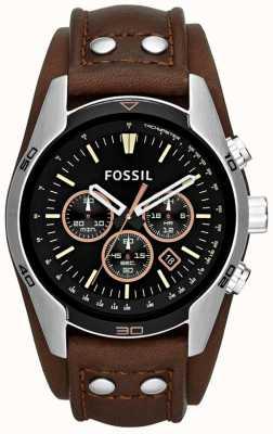 Fossil Mens koetsier zwarte wijzerplaat bruin lederen manchet band horloge CH2891