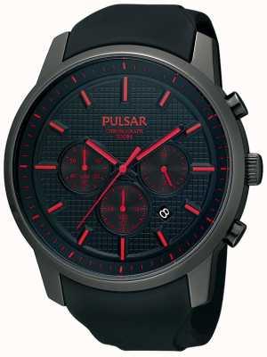 Pulsar Mens zwart-ion-plated rood detail rubberen band horloge PT3195X1