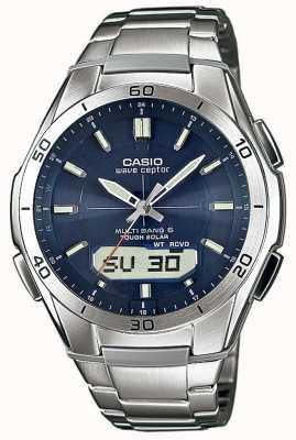 Casio Mens golf receptor blauwe wijzerplaat roestvrij stalen horloge WVA-M640D-2AER