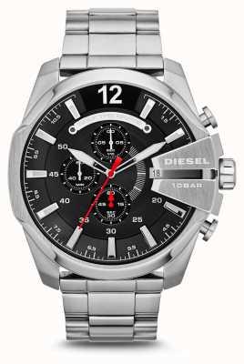 Diesel Mens mega chief horloge roestvrij staal zwarte wijzerplaat DZ4308