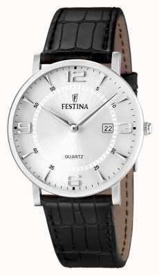 Festina Mens roestvrij staal zwart lederen band horloge F16476/3