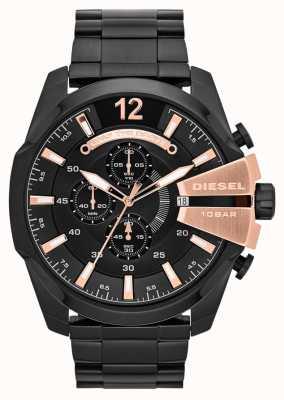 Diesel Mens mega chief zwarte ion plaat & rose gouden horloge DZ4309
