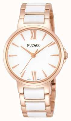 Pulsar Ladies 'rose witte klassieke jurk horloge PH8078X1