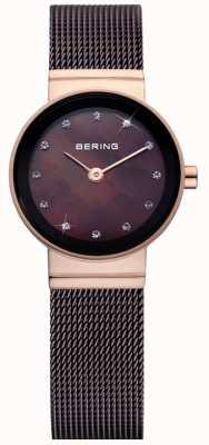 Bering Tijd dames bruin klassiek mesh horloge 10122-265