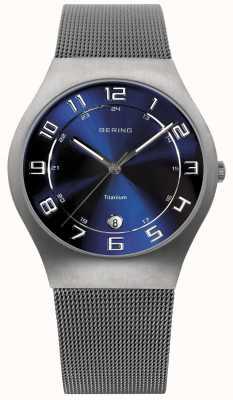Bering Mens titanium blauwe wijzerplaat mesh band horloge 11937-078