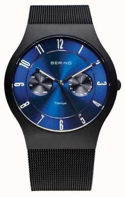 Bering Mens titanium blauw wijzerplaat 11939-078