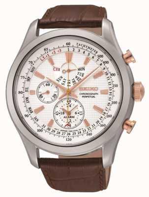 Seiko Heren roestvrij staal witte wijzerplaat bruin lederen horloge SPC129P1