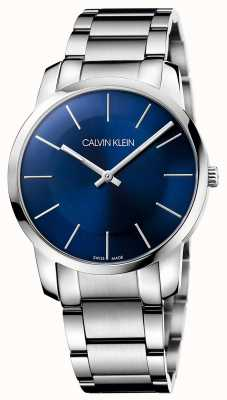 Calvin Klein Mens stad zilveren stalen armband horloge K2G2114N