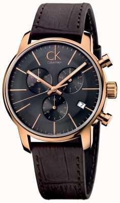 Calvin Klein Mannen nam gouden zwarte wijzerplaat bruin lederen stad chronograaf K2G276G3