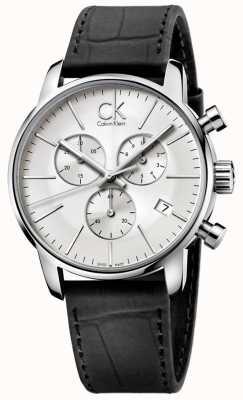 Calvin Klein Heren roestvrij staal en zwart zilver stad wijzerplaat chronograaf K2G271C6