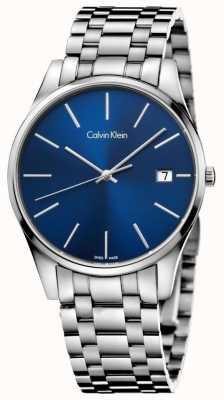 Calvin Klein Mens tijd blauwe zilveren horloge K4N2114N