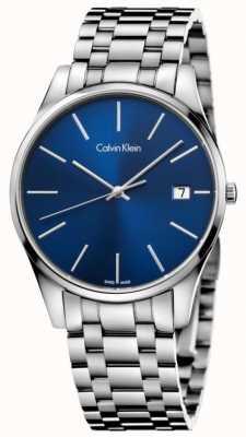 Calvin Klein Mens tijd blauw zilver horloge datum K4N2114N