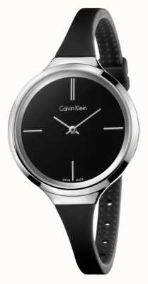 Calvin Klein Dames levendige zwarte siliconen band K4U231B1