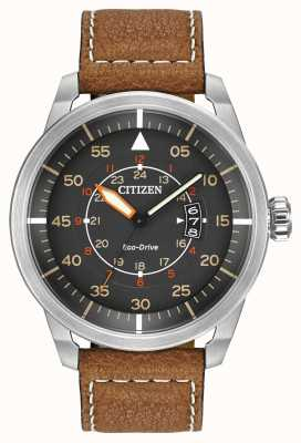 Citizen | heren eco-drive avion wr100 | bruine lederen band | AW1361-10H