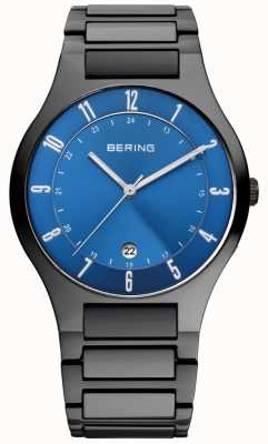 Bering Mens zwart titanium, blauw wijzerplaat 11739-727