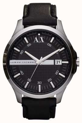 Armani Exchange Mannen date lederen band horloge AX2101