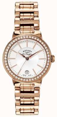 Rotary Dames les originales, gouden plaat, kristal set horloge LB90085/02L