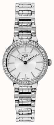 Rotary Dames les originales, roestvrij staal, kristal set, horloge LB90081/02
