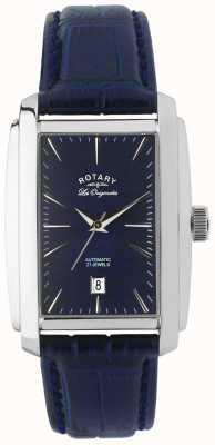 Rotary Gents blauw lederen automatische analoge horloge LE90012/05