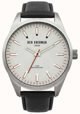 Ben Sherman London herenhorloge zwarte band witte wijzerplaat WB007S