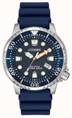 Citizen Gents blauwe rubberen zonne analoge horloge BN0151-09L