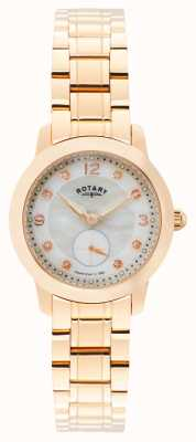 Rotary Womens Cambridge, rose goud, parel, kristal LB02702/41