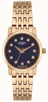 Rotary Womens rose goud blauwe wijzerplaat LB02462/05
