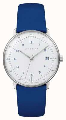 Junghans Max bill lady quartz | blauwe lederen band 047/4540.04