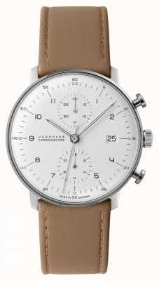 Junghans Max bill chronoscope   lederen band van kalfsleer   027/4502.04